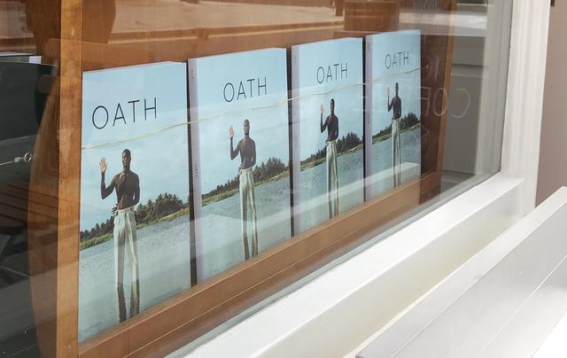 Oath magazines displayed through stockist window